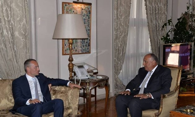 Minister of Foreign Affairs Sameh Shoukry (L) and United Nations' Special Coordinator for the Middle East Peace Process Nickolay Mladenov (R) in Cairo on July 29, 2018 - Press photo