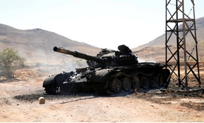 FILE PHOTO: A destroyed and burnt tank that belonged to the Libyan National Army (LNA), is seen in Gharyan south of Tripoli Libya June 27, 2019. REUTERS/Ismail Zitouny/File Photo