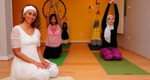 Sandra Shama Kaur with students at the Yalla Yoga studio in Heliopolis.