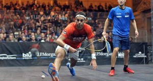 Mohamed Elshorbagy vs. Nicolas Mueller. Photo credit: PSA.