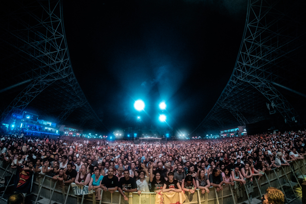 The audience cheers on as Carl & The Reda Mafia open for Bon Jovi in Abu Dhabi's du Arena on October 1.