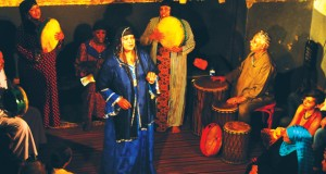 The Mazaher zar troupe during an October performance at Makan. While it is the women who front zar rituals, the men join in with drums, finger cymbals and traditional Upper Egyptian instruments.