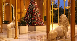A festive Christmas tree graces the entrance at the Cairo Marriott Hotel in Zamalek.