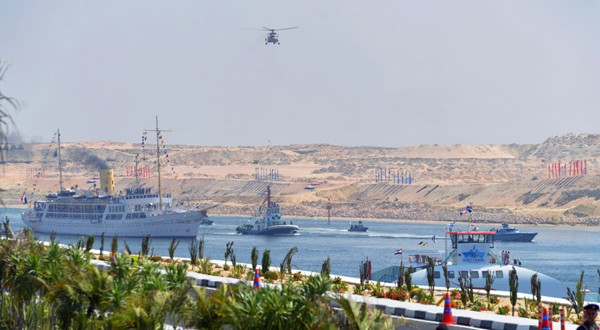 The opening of the Suez Canal extension.