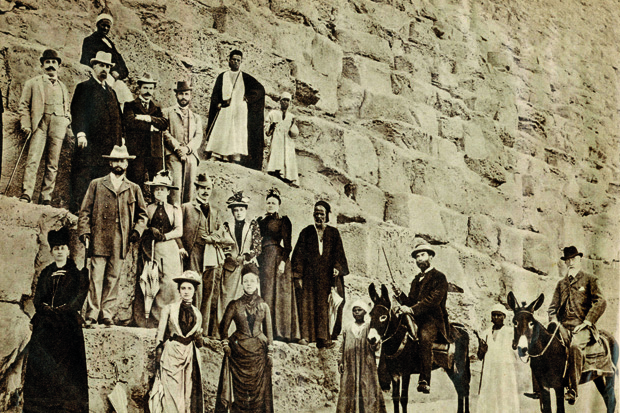 A party of early Cook's tourists at the pyramids. From Humphreys, On the Nile in the Golden Age of Travel, AUC Press. (Courtesy of Thomas Cook Archives)