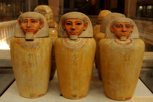 Canopic jars were used by the ancient Egyptians during the mummification process to store and preserve the viscera of their owner for the afterlife. They were often carved from limestone or made of clay.