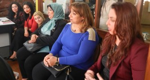 From right: Avon members Salma Hany, Amal Shenouda and Kawthar Fawzy speak on women empowerment during a round table on March 1st.