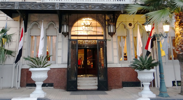 The entrance to the iconic Steigenberger (formerly Cecil) Hotel.