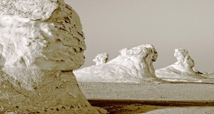 Sphinx-like 'yardangs' in the White Desert.
