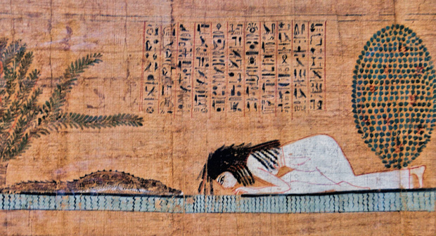 Woman and Crocodile papyrus detail (courtesy Nigel Fletcher-Jones)