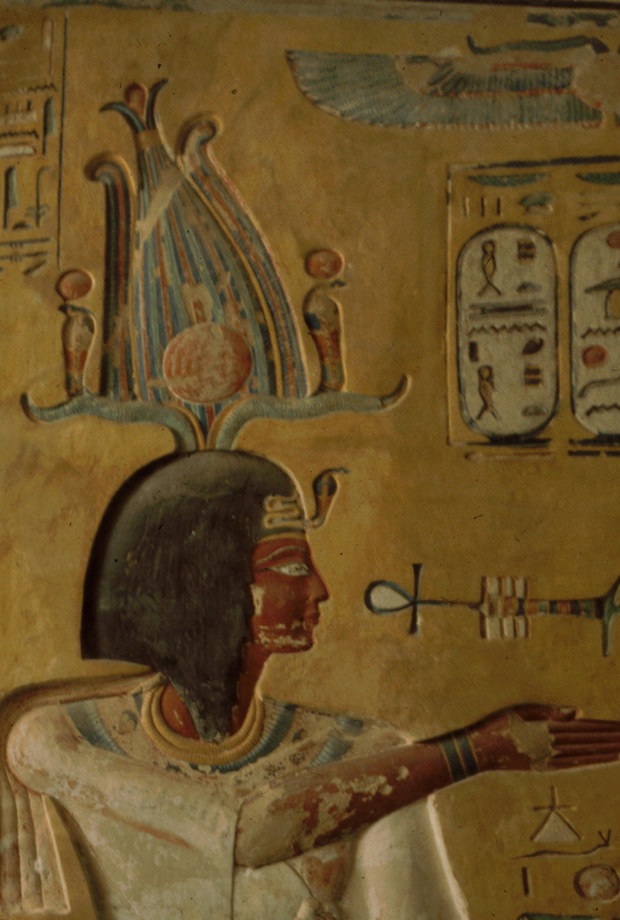 Siptah at the entrance to his tomb in the Valley of the Kings; his cartouches have been erased, but later reinstated, probably by Sethnakhte, after the overthrow of Tawosret.