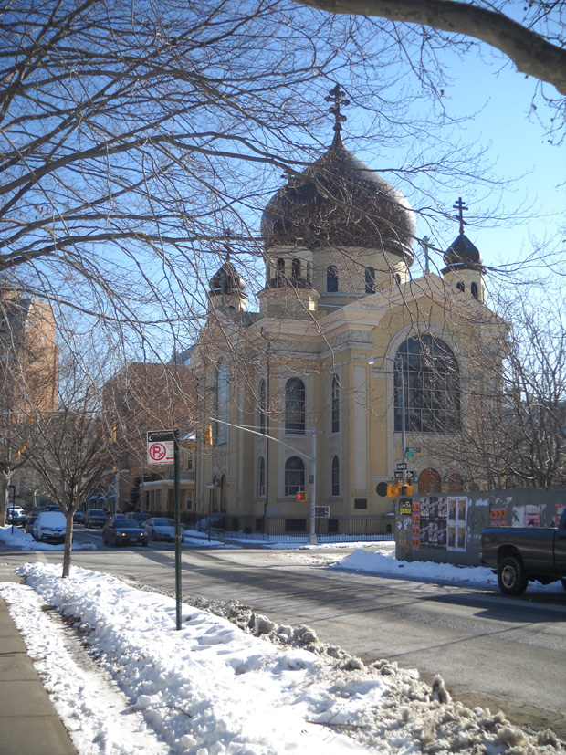 Ethnicities in Williamsburg don'tcreate a melting pot as much as a salad bowl — Hasidim Jews and Puerto Ricans in South Williamsburg, and Poles and Italians in the North Side, among many others like Dominicans, African Americans and Hispanics. Shown here: a Russian Orthodox church.