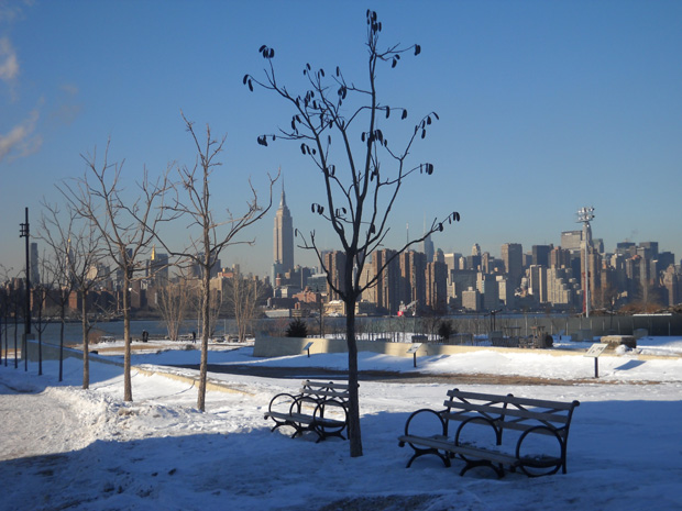A public park in Williamsburg in the winter, with Manhattan looming in the background.