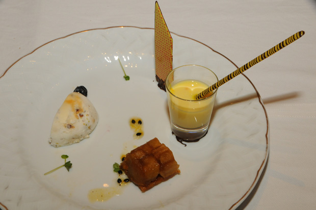 Iced nougat with pistachio and cardamon, with light custard infused with saffron.