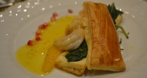 Sauteed Shrimp with Orange-Ginger Butter, puff pastry stuffed with spinach.