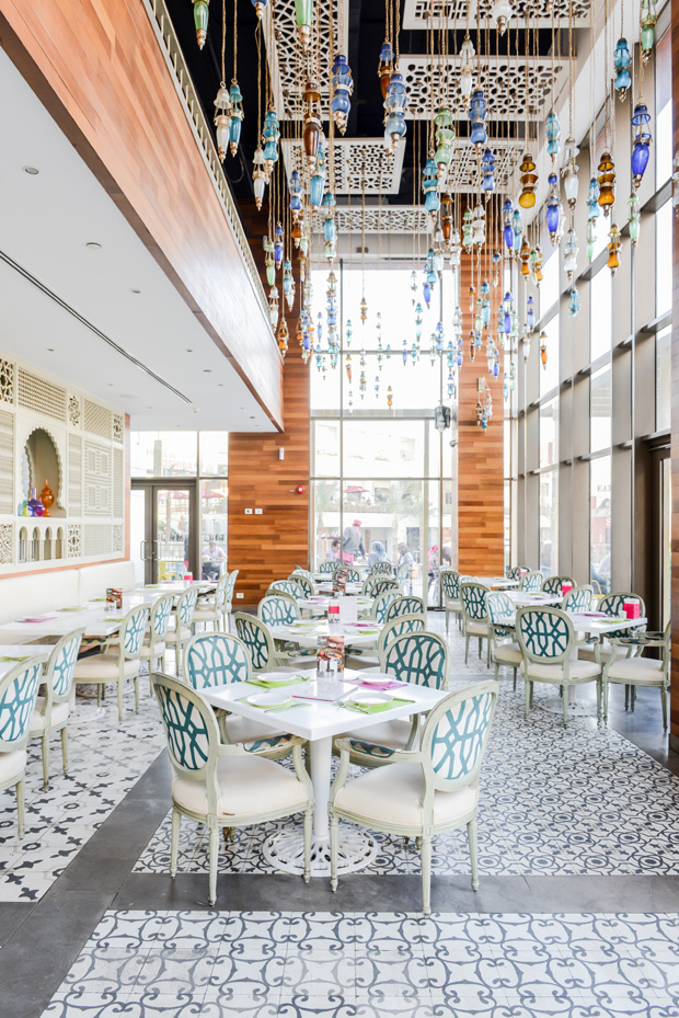 Nile Co. tiling beautifully play off Lebanese bistro Tamara's colorful furnishings, designed by SEDS (Shewekar Elgharably Design Studio).