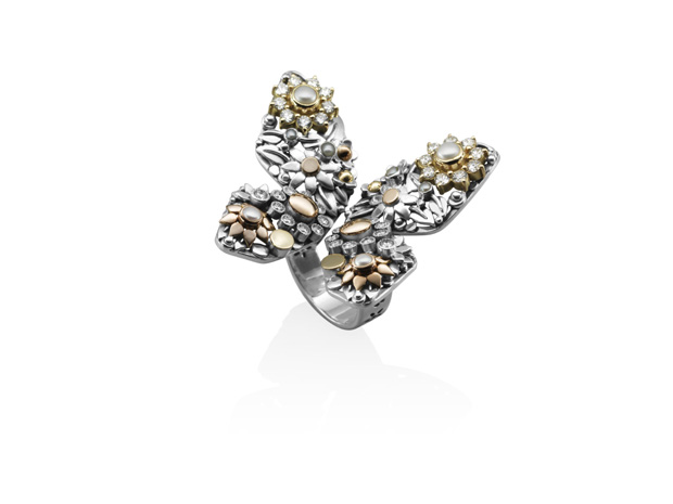 18kt gold and sterling silver butterfly.