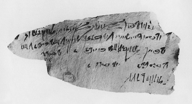 An ostracon and Qenhirkhopshef's handwriting (from Mrs. Naunakhte (AUC Press))